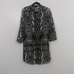 Snakeskin print shift dress